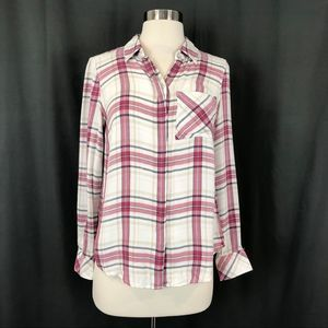 WHBM White Pink Plaid Long Sleeve Button Down Top